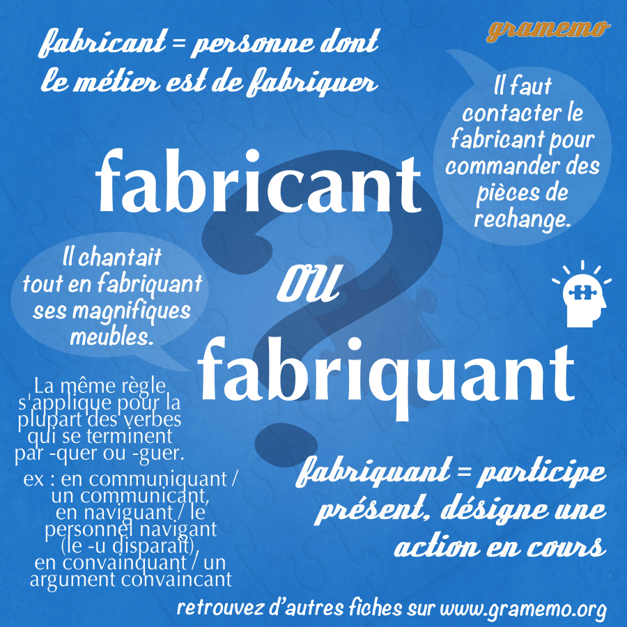 gramemofabricant ou fabriquant